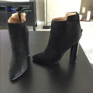 High heel black booties